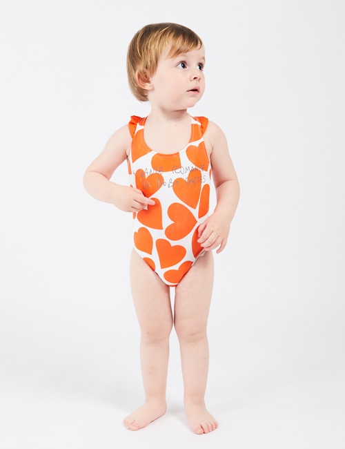 [BOBO CHOSES] All Over Hearts Baby Swimsuit [12-18m, 18-24m]
