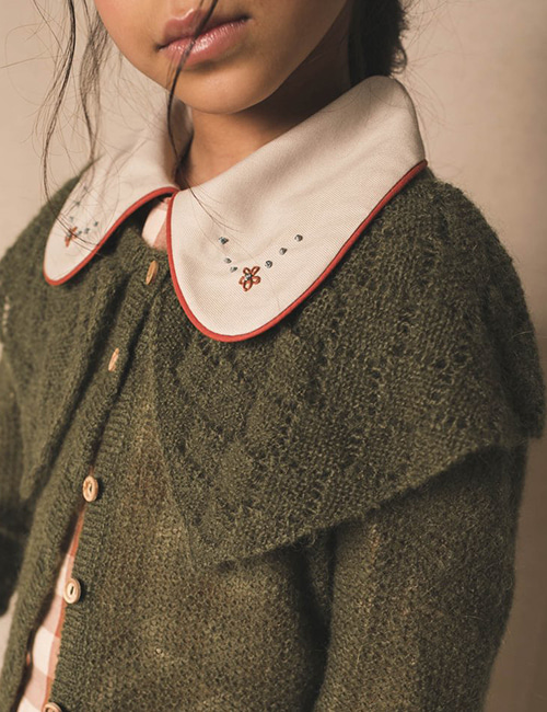 [BIRINIT PETIT] Square Neck Sweater Mohair _ Green [6Y, 10Y]