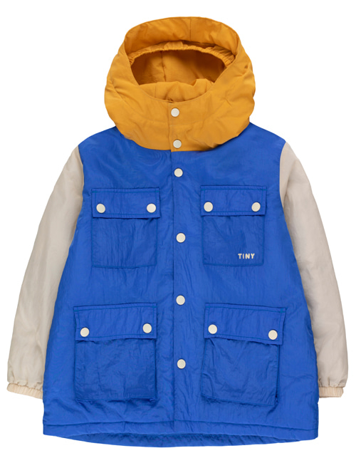 [TINY COTTONS] COLOR BLOCK PARKA _ blue/cappuccino [4Y,8Y, 10Y]