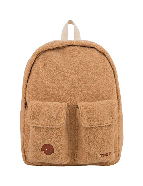 "[TINY COTTONS] ""TINY DOG"" BIG SHERPA BACKPACK _ camel"