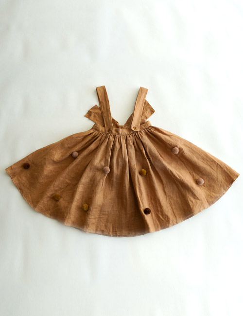 [Mes Kids Des fleurs] dress with pompom _ Brown [90,100]