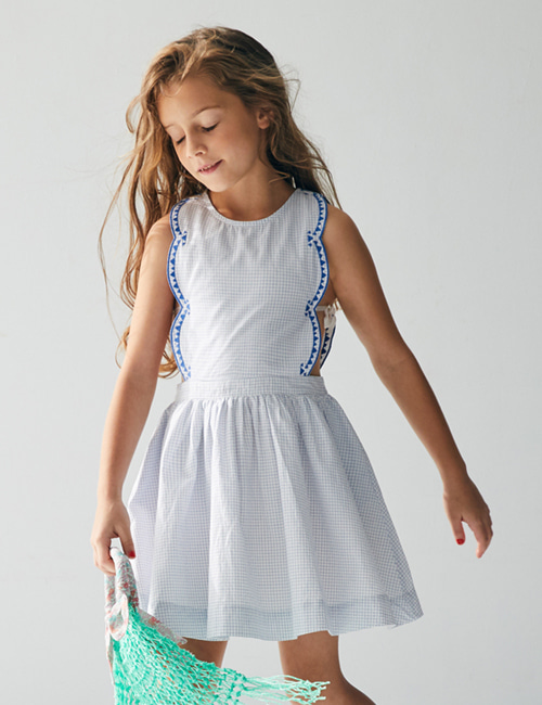 [NELLY STELLA]  Emma Dress _ Small Blue Checks [6Y]