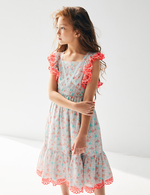 [NELLY STELLA]  Elina Dress _ Blooming Hearts Mint [4Y, 6Y, 8Y, 10Y]