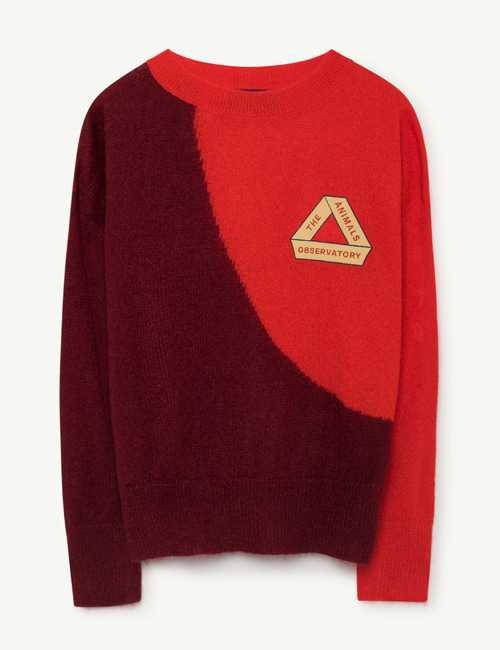[T.A.O] BICOLOR BULL KIDS SWEATER DEEP RED TRIANGLE [4Y]