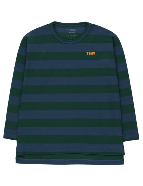 "[TINY COTTONS]  ""TINY"" STRIPES TEE _ dark green/light navy [10Y]"