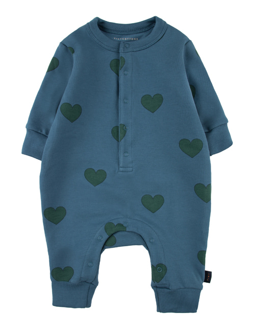 "[TINY COTTONS]  ""HEARTS"" ONE-PIECE _ sea blue/dark green [6M, 9M, 12M]"