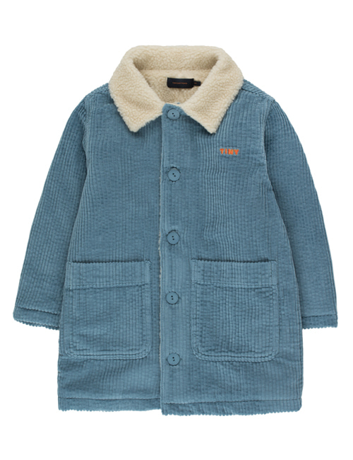 "[TINY COTTONS]  ""TINY"" SOLID OVER-SHIRT _ sea blue [4Y, 10Y]"