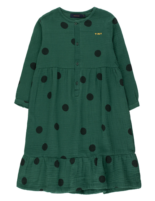 "[TINY COTTONS]  ""BIG DOTS"" DRESS _ dark green/black [10Y]"