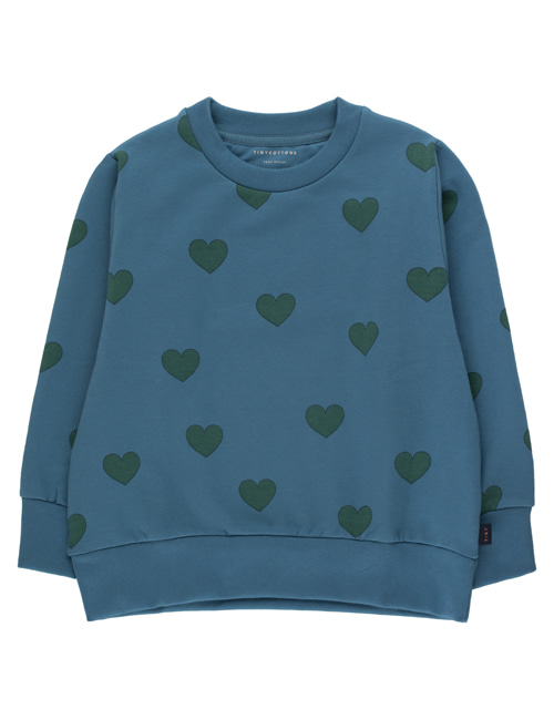"[TINY COTTONS]  ""HEARTS"" SWEATSHIRT _ sea blue/dark green [2Y, 12Y]"