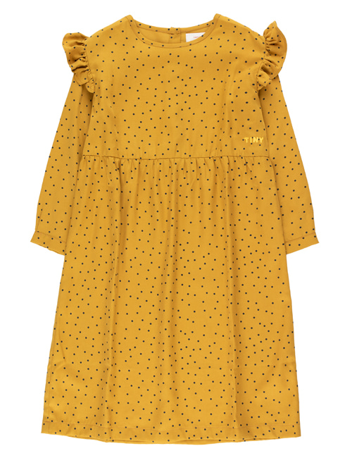 "[TINY COTTONS]  ""TINY DOTS"" DRESS _ mustard/navy [4Y]"