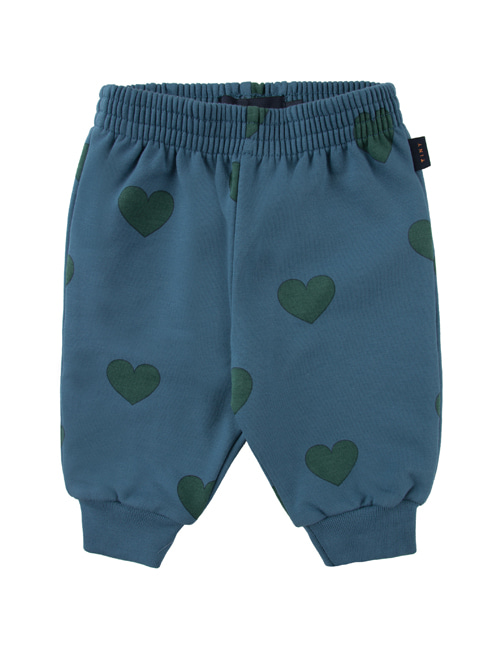"[TINY COTTONS]  ""HEARTS"" SWEATPANT _ sea blue/dark green [12M]"