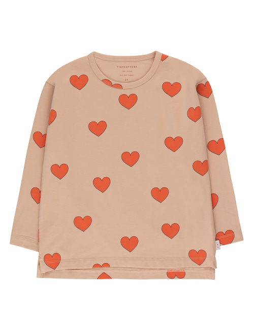 "[TINY COTTONS]  ""HEARTS"" TEE _ light nude/red [10Y]"