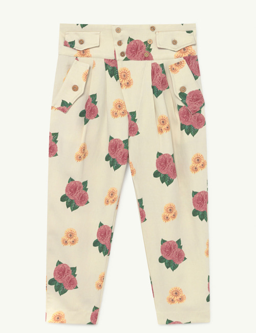 [T.A.O] CAMEL TWILL KIDS TROUSERS WHITE FLOWERS [3Y, 8Y, 12Y]