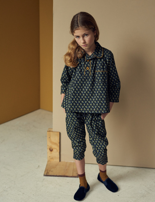 [CARAMEL] WOODPIDGEON TROUSERS_ BLACK/YELLOW SMALL FLORAL [4y,  8y]