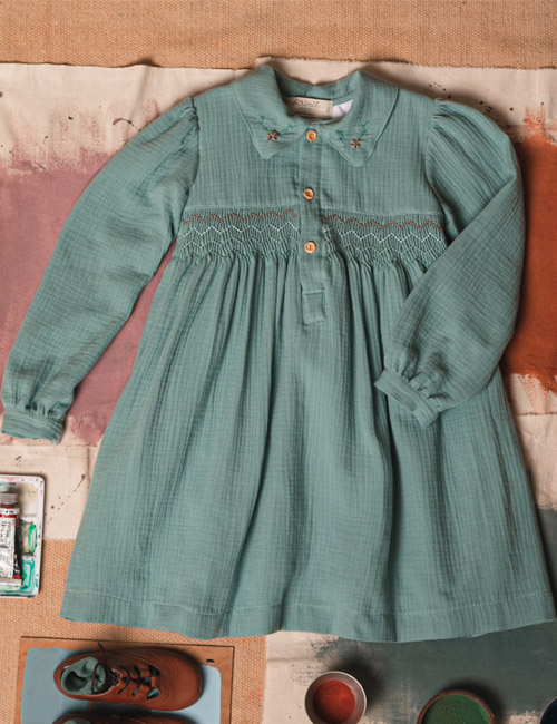 [BIRINIT PETIT] Honeycomb dress in green bamboo [4Y, 10Y]