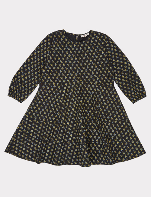 [CARAMEL] CRANE DRESS _ BLACK/YELLOW SMALL FLORAL [4Y, 8Y]