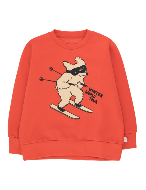 "[TINY COTTONS]  ""SKIING DOG"" SWEATSHIRT _ red/cappuccino [8Y, 10Y]"