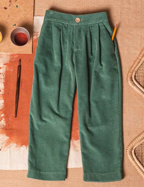 [BIRINIT PETIT] Green corduroy pleated trousers [3Y, 4Y, 6Y, 8Y]