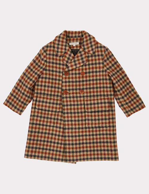[CARAMEL] EAGLE COAT _ BEIGE WOOL CHECK [4y, 10y, 12y]