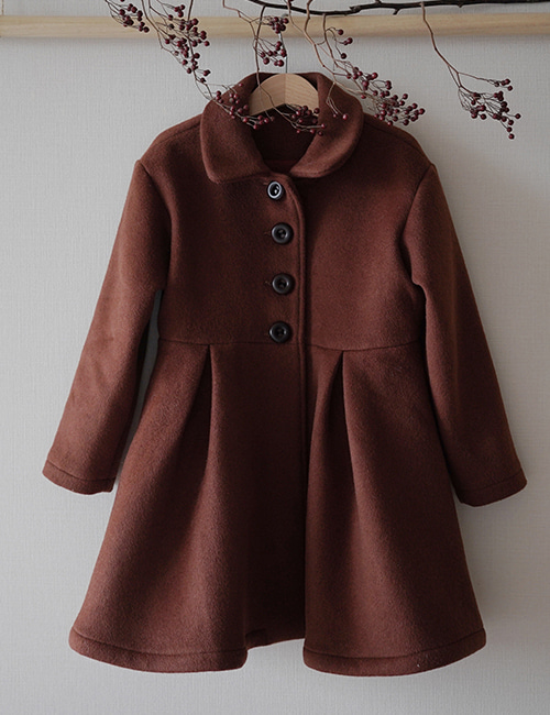 [MES KIDS DES FLEURS] Single breasted coat _ brick red [90, 100, 110, 120, 130]