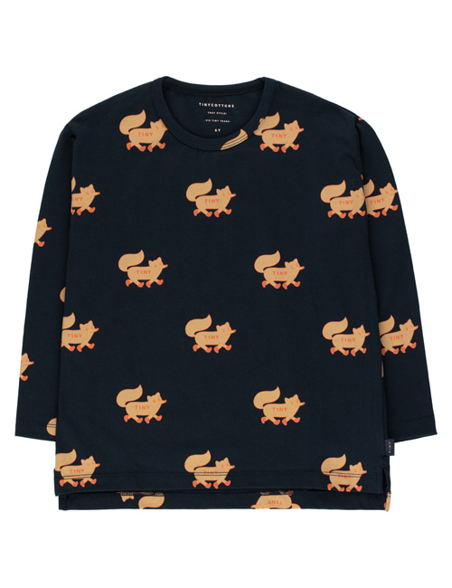 "[TINY COTTONS]  ""FOXES"" TEE _ navy/camel [12Y]"