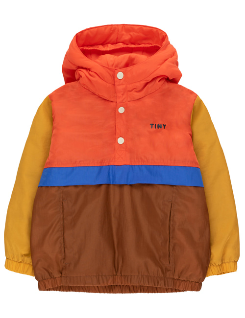 [TINY COTTONS] COLOR BLOCK PULLOVER _ red/dark brown [6Y, 12Y]