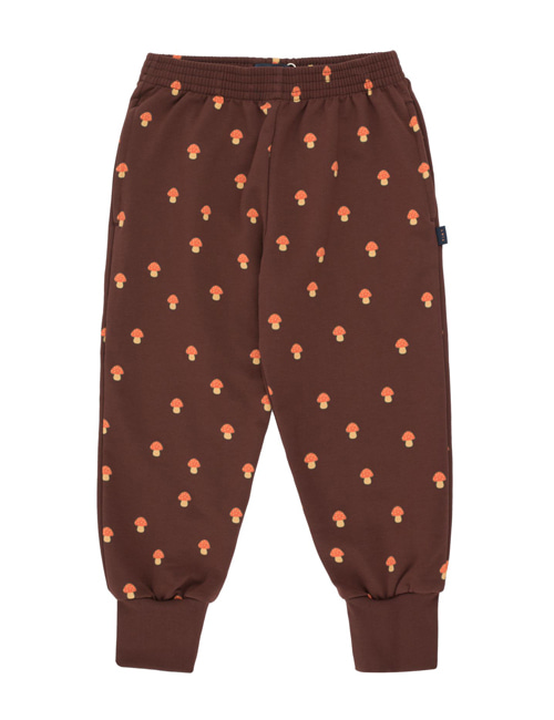 "[TINY COTTONS]  ""MUSHROOMS"" SWEATPANT _ ultra brown/red [8Y, 12Y]"