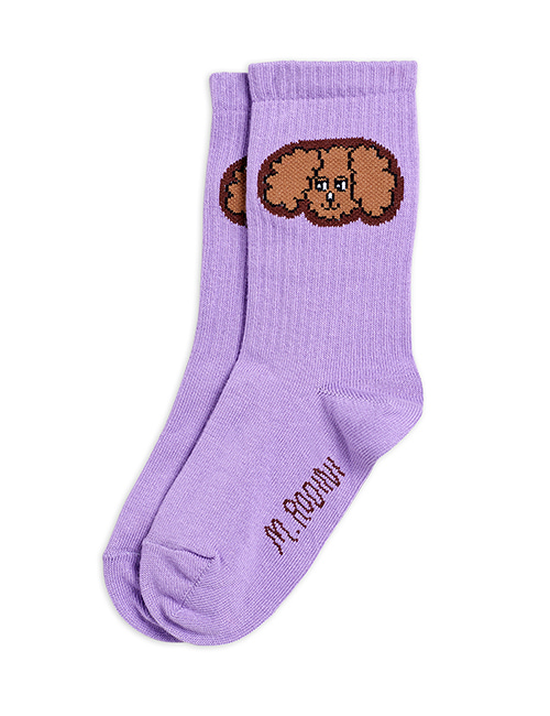 [MINI RODINI] Fluffy dog socks _ Purple [20/23, 28/31]