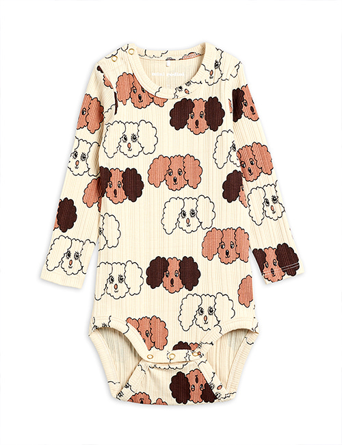 [MINI RODINI] Fluffy dog aop ls body _ Beige [80/86]