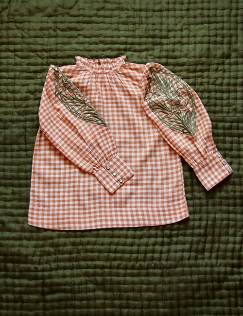 [BONJOUR DIARY] Blouse long cuff _ Orange check [2Y, 4Y, 10Y,12Y]
