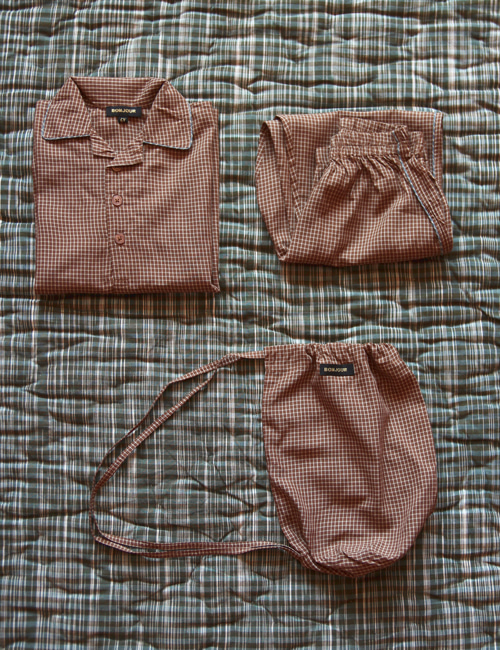 [BONJOUR DIARY] Boy Pyjama set  with bag _ Caramel check [6Y, 8y, 10Y]