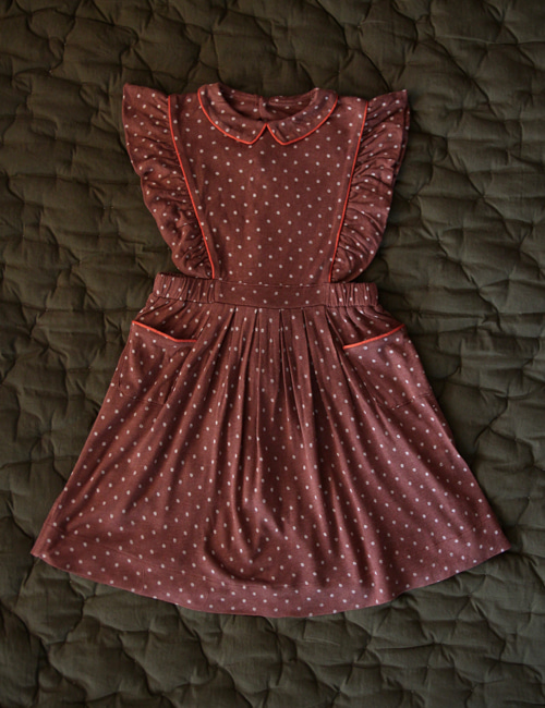 [BONJOUR DIARY] Apron Dress _ Ecru dots on brown jersey [6Y]