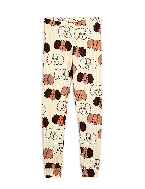 [MINI RODINI] Fluffy dog aop leggings _ Beige [80/86, 92/98, 104/110, 116/122]