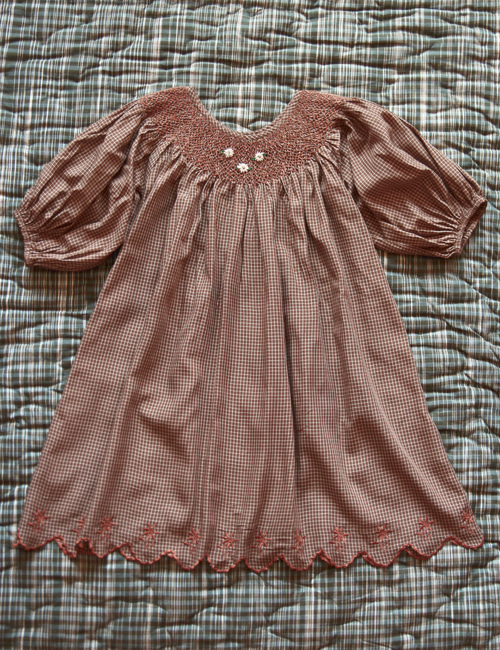 [BONJOUR DIARY] Butterfly dress with balloon sleeve _ Caramel check [4Y, 6Y, 8y, 10Y]