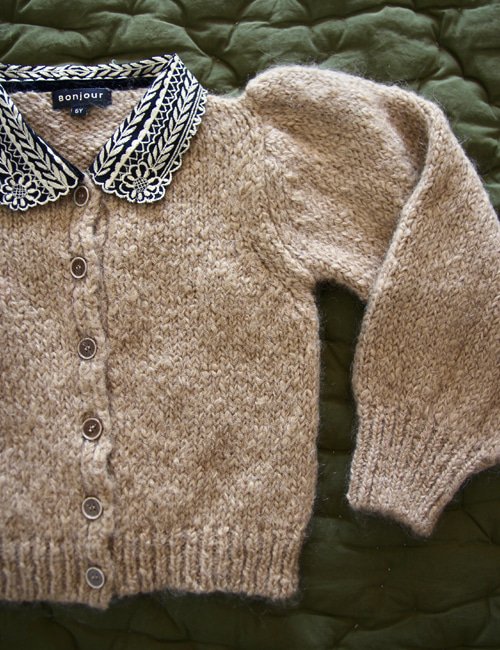 [BONJOUR DIARY] Cardigan with embroidered collar _ Natural[2Y]