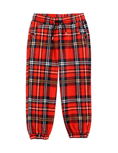 [MINI RODINI] Fleece check trousers _ Red [116/122, 128/134]