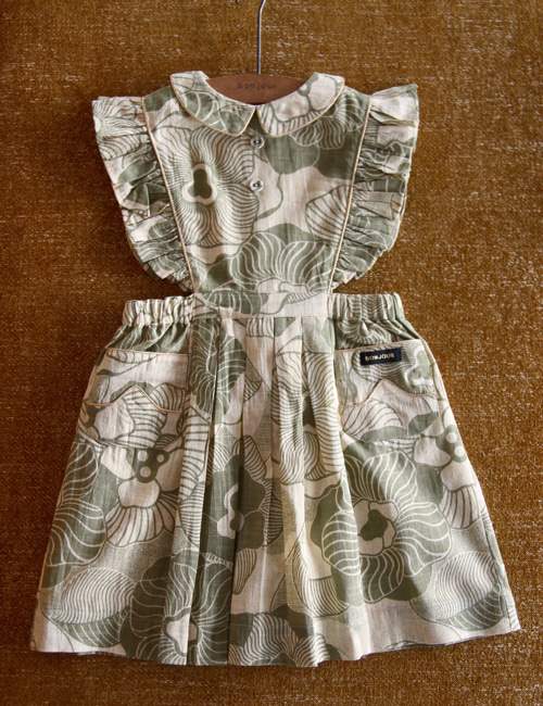 [BONJOUR DIARY] Reina dress with Gold piping _Moss green flower print [2Y,]