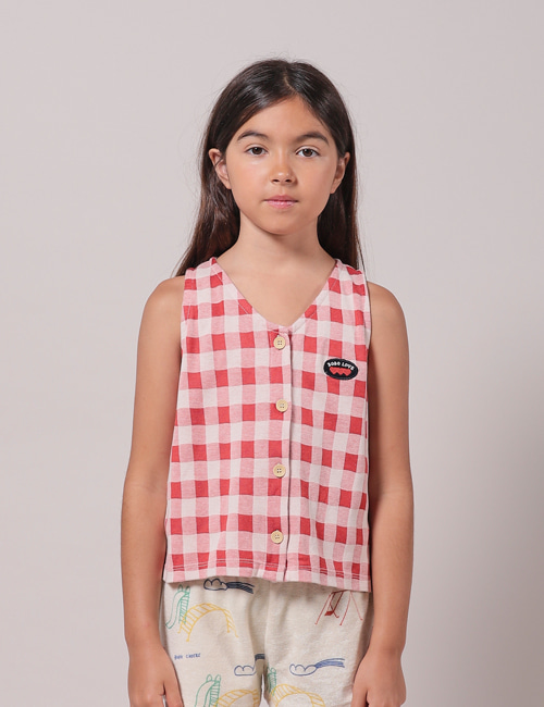 [BOBO CHOSES] Vichy Buttoned Top[8-9y, 10-11y]