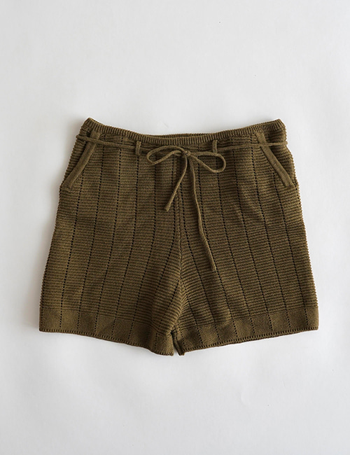 [Mes Kids Des fleurs] knitted shorts _ Brown[S, M, L]
