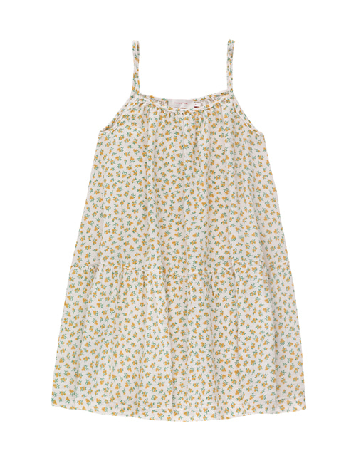[TINY COTTONS]  SMALL FLOWERS DRESS _ pastel pink/yellow[4Y, 6Y]