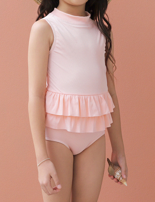 [OLIVIALEE] One-Piece Ruffle Swimsuit _ Ribbed Peach[4Y, 6Y ]