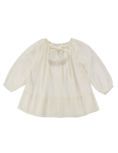 [LITTLE COTTON CLOTHES]Embroidered Olive Top Off White [7-8y]