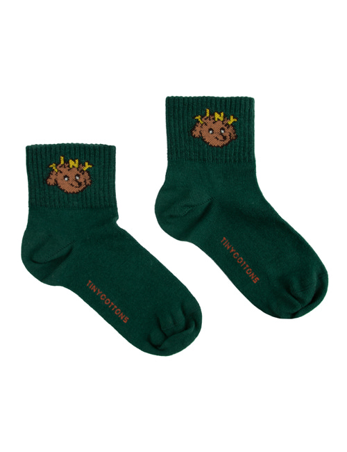 "[TINY COTTONS]  ""TINY DOG"" QUARTER SOCKS _ dark green/sienna [6Y]"