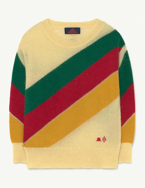 [T.A.O] STRIPES BULL KIDS SWEATER  Yellow Hat[6Y,8Y]