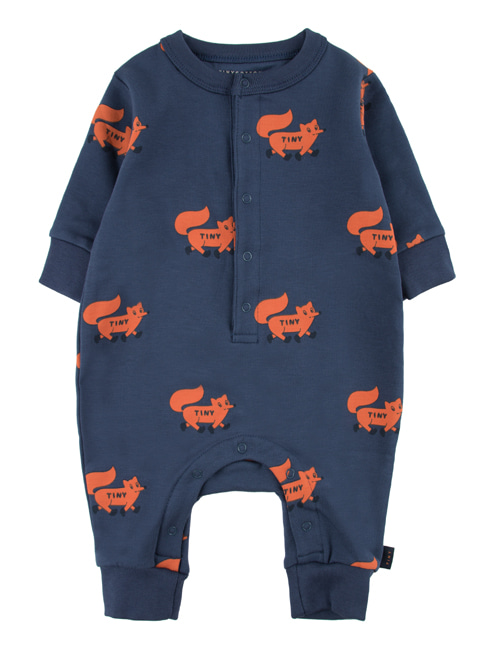 "[TINY COTTONS]  ""FOXES"" ONE-PIECE _ light navy/sienna [6M, 9M]"