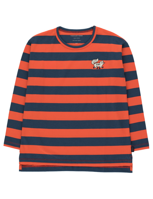 "[TINY COTTONS]  ""TINY FOX"" STRIPES TEE _ light navy/red [12Y]"