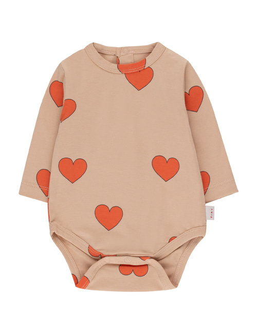 "[TINY COTTONS]  ""HEARTS"" BODY _ light nude/red [12M, 18M]"