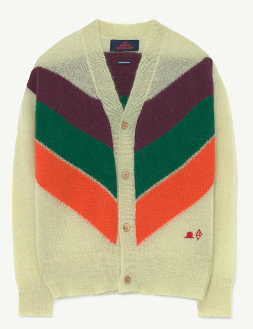 [T.A.O] STRIPES RACOON KIDS CARDIGAN  Green Hat[8Y]