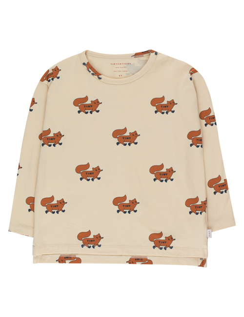 "[TINY COTTONS]  ""FOXES"" TEE _ cream/brown [10Y]"