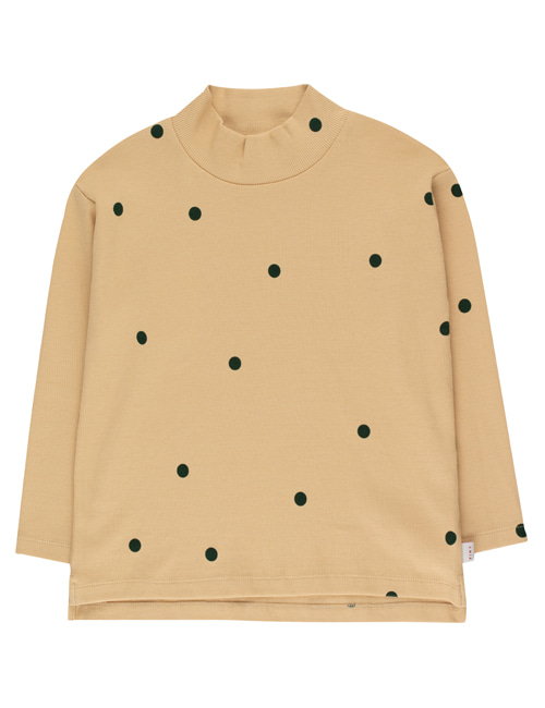 "[TINY COTTONS]  ""DOTS"" MOCKNECK TEE _ cappuccino/dark green [12Y]"